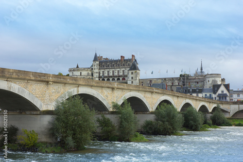 Roman bridge over Loire river and Chateau de Amboise, France