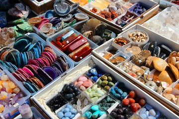 Precious stones market in Sibiu, Romania