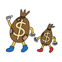 Cartoon patched money bags go forward.