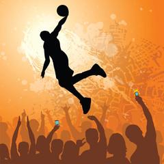 basketball dunk grunge design