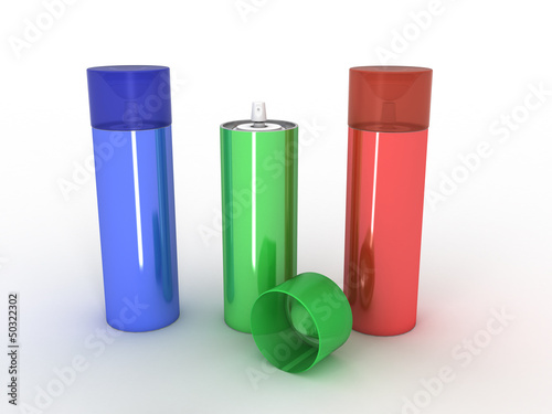 Colored cans on a white background №1