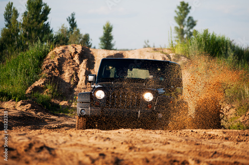 Off road car in the mud