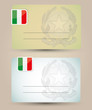 business card with flag and coat of arms of Italy