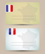 business card with flag and map of France