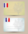 business card with flag and coat of arms of France