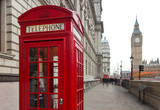 A view of Big Ben and a classic red phone box in London, United