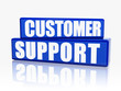 customer support in blue blocks