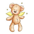 drawing of teddy bear with wings