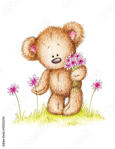 drawing of teddy bear with pink flowers