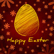 Happy Easter and yellow egg over brown old paper background with