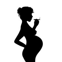 Schwangere Frau mit Zigarette  Silhouette