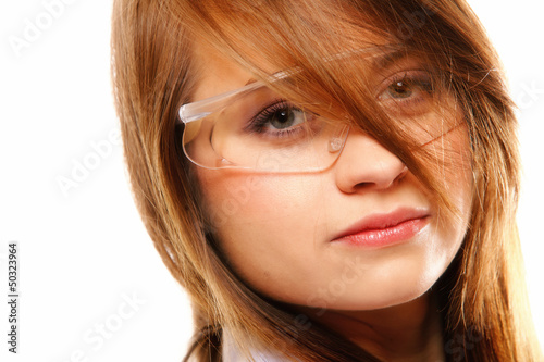 Woman scientist close up portrait, isolated