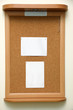 note paper pined on cork board background