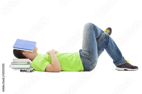 young student lying on the floor and sleeping