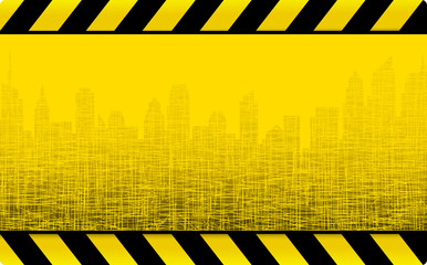 grunge construction background with city