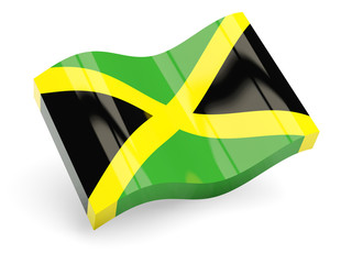 3d flag of jamaica isolated on white