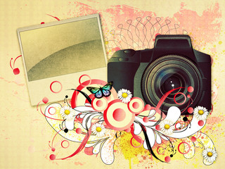 Photo camera with floral