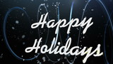 Happy Holidays under falling snow animates on