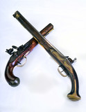 English and French flintlock pistols made around 1800.