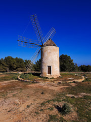 Windmill in el Pilar de la Mola, Formentera, Balearic Islands