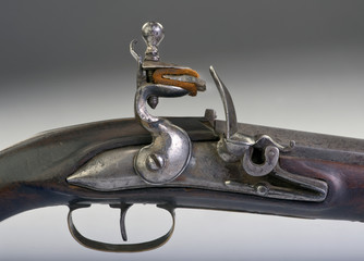Closeup of French flintlock pistol made around 1800.