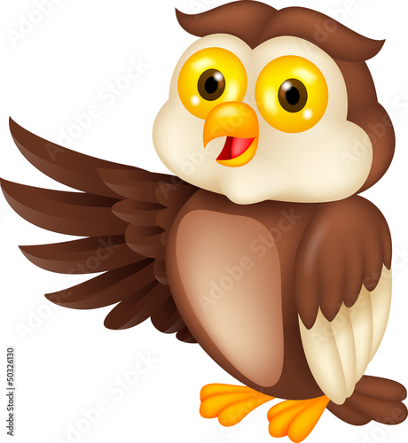Owl cartoon waving