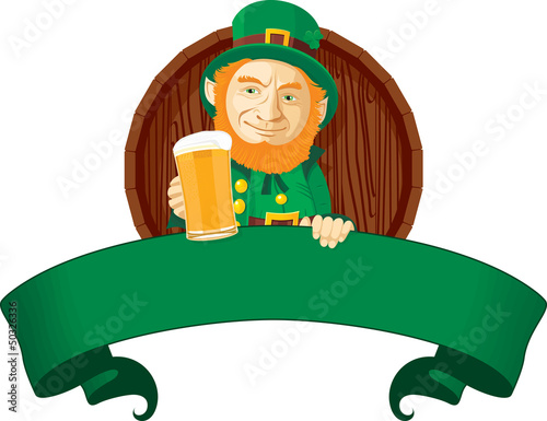 Leprechaun is sitting over a blank banner
