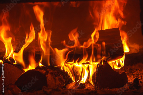 obraz PCV Fire in fireplace