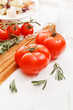 Pasta with tomatoes and herbs