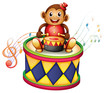 A monkey above a big drum