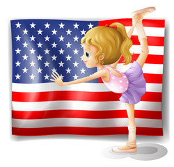 The flag of USA at the back of a dancer