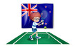 A tennis player in front of the flag of New Zealand