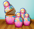 Four colorful Russian dolls