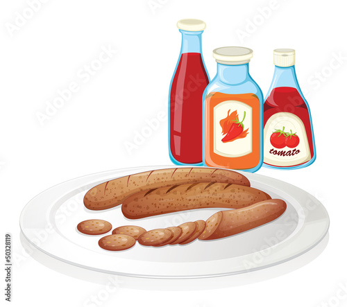 A plate of sausage with ketchups