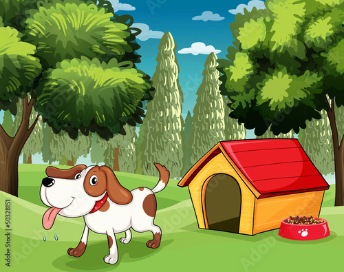 Foto op Canvas Honden A dog with a doghouse and a dogfood near the trees