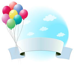 Balloons with an empty banner