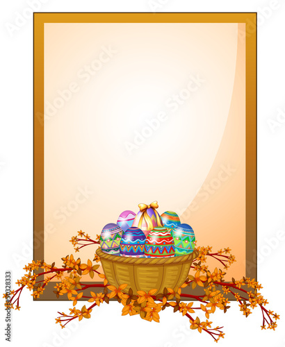 An empty frame signage with a basket of eggs