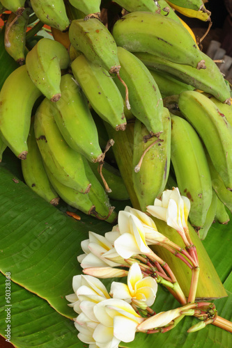 Banana - The banana leaves and flowers