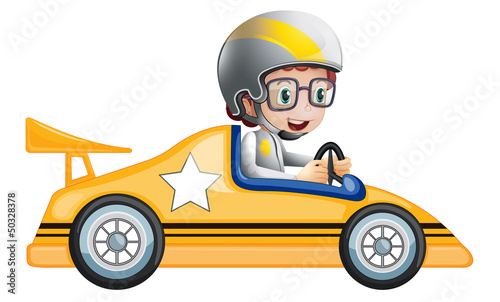 A girl in her yellow racing car