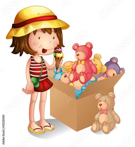 Deurstickers Beren A young girl beside a box of toys