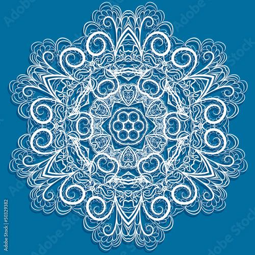 White snowflake on blue