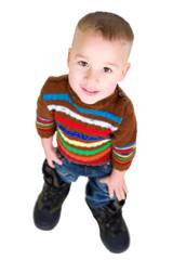 Kleiner Junge mit großen Stiefeln