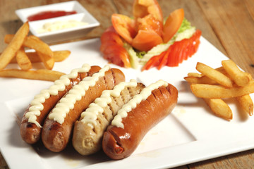 Dish with sausages