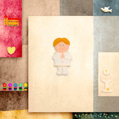 holy communion invitation cute blonde boy