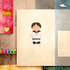 holy communion invitation cute sailor boy