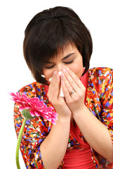 Woman having allergy