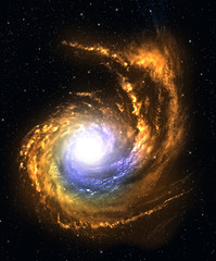 Spiral galaxy in deep space with starfield background.
