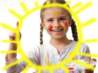 Summer joy, creative child painting sun