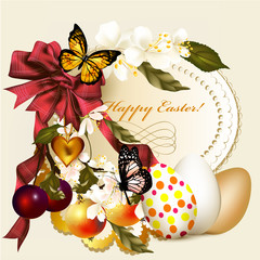 Easter greeting card with banner and flowers