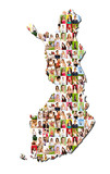 Portrait of a lot of people - map of finland